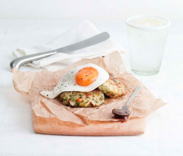 Leftover Bubble & Squeak cakes with grain mustard and a fried egg